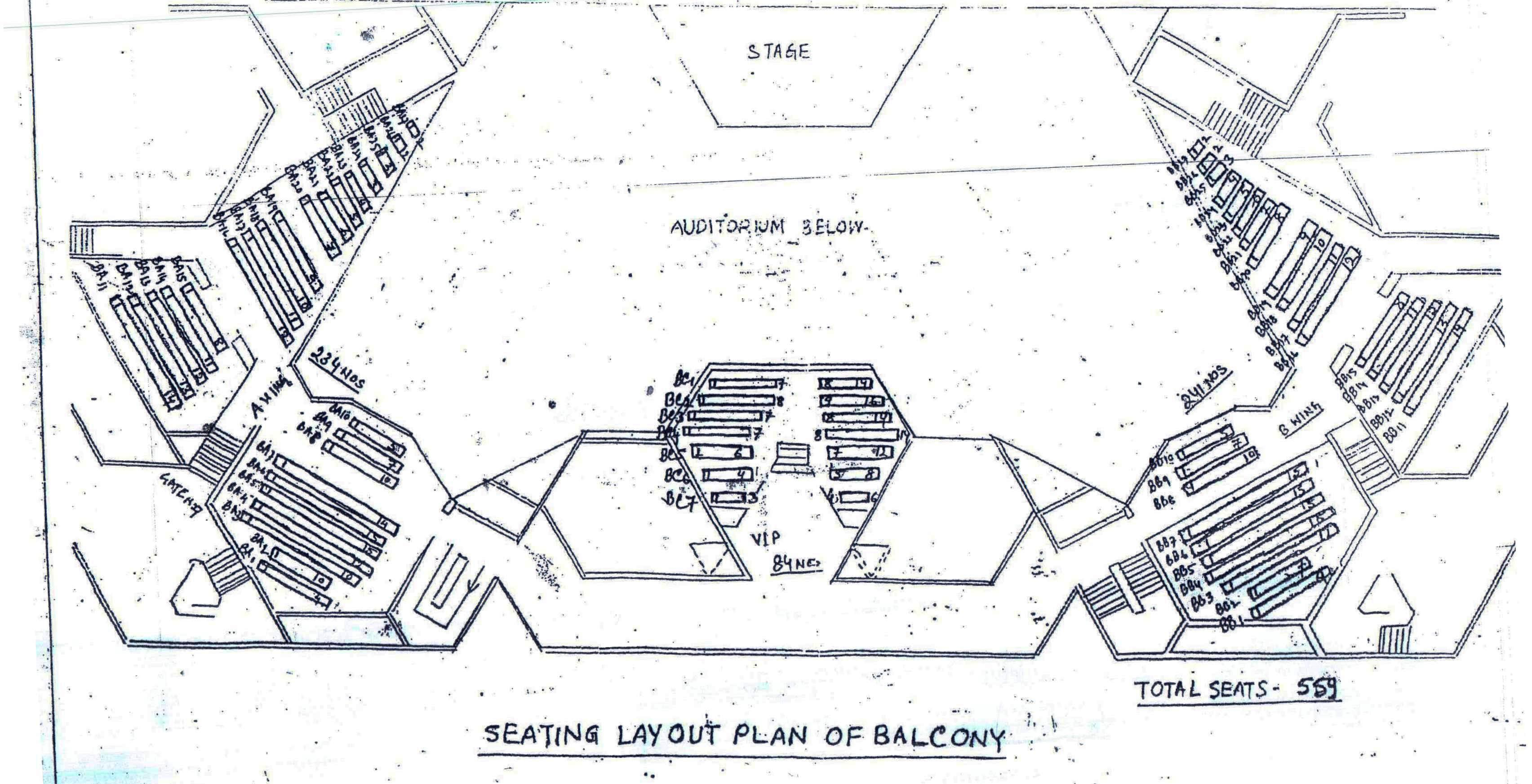 Auditorium - I Seating plan - Balcony